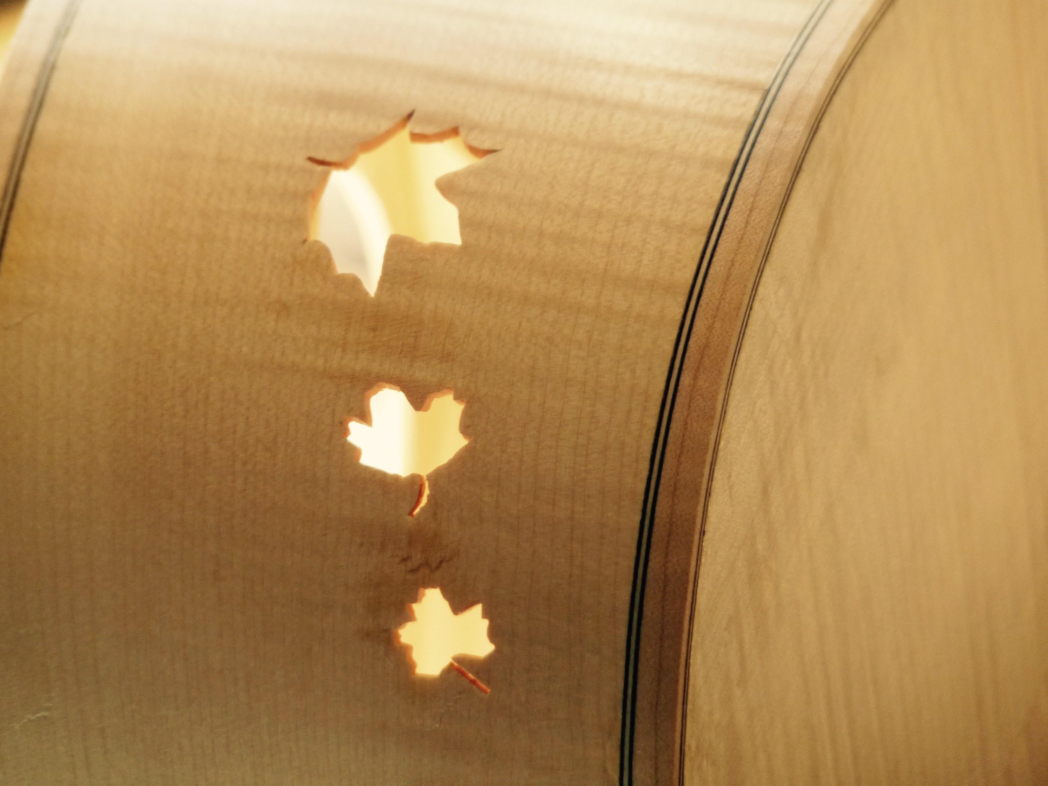 Feuilles d'érable sur une éclisse, guitare Otge.